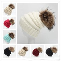 beanie women s green - 12 colors Fashion Raccoon fur ball cap pom poms winter hat for women girl s beanie hat knitd beanies cap brand new thick female cp