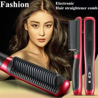 Wholesale Hot W Electronic Hair Straightener V Ceramic Ionic Anion Digital Tourmaline Ceramic Flat Instant Magic Comb Hair Brush