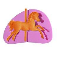 horse decor - M253 Hot Selling Carousel Horse Silicone Fondant Mold Cake Decor Chocolate Paste Gum Baking Mould