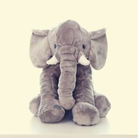 Wholesale 5color Elephant pillow cm Baby Soft Plush Elephant Sleep Pillow Kids Lumbar Cushion Long Nose Elephant Toys Soft Plush Doll
