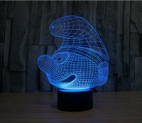 Wholesale The Smurfs Colorful D visual light touch lamp LED lamp night light switch illusion USB Power Supply