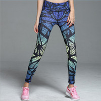 Wholesale New Style Nine Yoga Pants Gradient Printing Quick drying Sports Pants Fitness Compression Tights Fitness Clothing