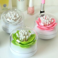 Wholesale Hot lotus cotton toothpick storage box case flower cotton swab toothpick holder organizer home decor