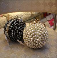 beading bags - Fashion Women Pearl Clutch Bags Mini Round Diamond Wedding Party Clutches High Quality Chain Hand Bag Purse Top Sale