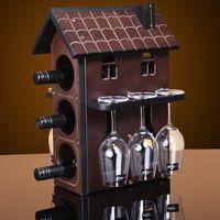 decorative glass wine bottle - 1set Creative x25x39m Wood Wine Rack Furniture Decorative Champagne Stemware Wine Holder Bottle Glass Stand Wine Shelf House