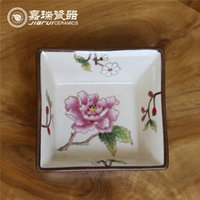 Wholesale Chinese hand painted Square Ceramic Salad Bowl floral pattern HIGH QUALITY Arts and crafts