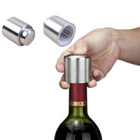 Wholesale 2016 Stainless Steel Vacuum Sealed red Wine Storage Bottle Stopper Plug Bottle Cap Pressing type wine Stopper christmas gift