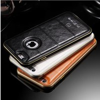 aluminum grids - Luxury Metal Cover In Capa Fashion Grid Skin Aluminum Bumper Leather Back Case For iPhone S S Plus Samsung S6 S7 Note Fundas Coque