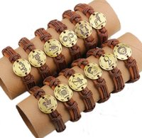 animal cuffs - 12pcs boy girl s lovely cool Cuff Surfer ZODIAC Charm Plate Wrist Leather Bracelet