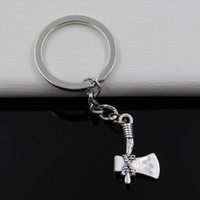 axe keychain - Fashion diameter mm Key Ring Metal Key Chain Keychain Jewelry Antique Silver Plated stone axe ax mm Pendant