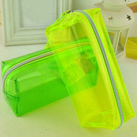 Wholesale New Clear Candy Colors Pencil Bags Pencil Case Stationery Office School Supplies Kid Prize Gift