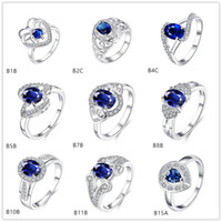 Wholesale Twisted round blue gemstone silver ring GTGR8 best gift sterling silver ring pieces mixed style