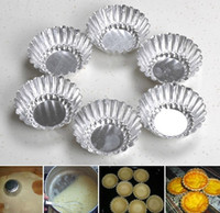 aluminum pie plates new - New Daisy neodymium alloy anode baking Aluminum metal mold cake cup egg tart pie plate chrysan themum Bakeware small cupcake tools mold