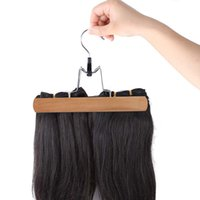Wholesale Solid Wooden Collection Slack Hanger Wood Skirt Hangers Hair Extensions Hanger for Virgin Hair