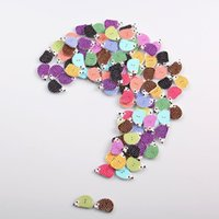 Wholesale 2016 Random Mixed Hedgehog Shaped Wooden Sewing Buttons Holes With White Dots x16mm Lovely Scrapbooking Accessories I287L