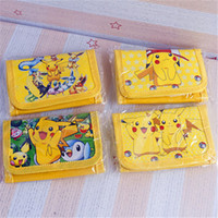 animations pokemon - 2016 Hot Poke Pikachu Cosplay Long Foldable Animation Wallet Purse Yellow Poke purse kids gifts