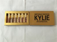 Wholesale In stock Kylie Jenner Lipkit Lord Metal Gold the Limited Edition Birthday CONFIRMED Matte Lipstick lip Kit Cosmetics lipsticks set