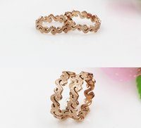 Wholesale Rose gold frosted S shape rings stainless steel dull polish rings on sale