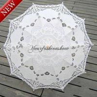 Wholesale DHL Fedex Free New Lace Umbrella Cotton Embroidery Wooden handle Lace Parasol Umbrella Bridal Wedding Umbrella Decorations L78