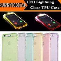 Wholesale Cheap 5s Cases - Cheap LED Flash Light Up Case Remind Incoming Call Cover for iPhone 5S SE 6 6S Plus Samsung S7 S6 Edge Note 5 TPU+PC Clear Transparent Skin