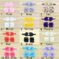 baby sandals sale - 2016 hot sale Newborn infant baby rhinestone flowers baby barefoot sandals headband set Photography Props children girls hair Accessories