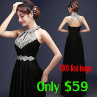 amazing stocks - Amazing Cheap Stunning Evening Dresses Halter Crystal Beading Sexy Back Long Modest Royal Blue Pink Prom Party Pageant Gowns In Stock