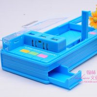 automatic pencil box - small geeks multifunctional stationery box pencil box double sided automatic creative gift cm Stationery storage box