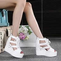 2016 sandalias del verano del resorte Europa Trifle atractivo acuña los zapatos de la mujer Zapatos de tacón alto de la cabeza gruesa de los pescados de la corteza