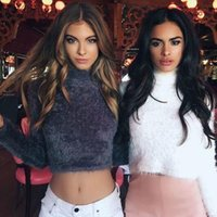 Wholesale Warm hairy turtleneck knitted sweater Women autumn winter plush black sweater short top Basic long sleeve white crop top DZ914