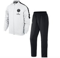 Wholesale Paris Saint Germain Soccer Track Suit New Arrival Men White Sports Set High Quality Soccer Jackets Soccer Pants Best Sweat Suits
