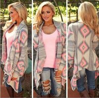 Wholesale 2016 autumn and winter explosion models selling printing irregular knit cardigan sweater large size women coat