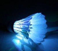 Wholesale LED Luminous The new strange color Flash light colorful goose feather badminton
