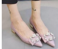 Wholesale Single shoes fashion pointed flat han edition sweet flat shoes electroplating diamond pearl shoes with joker students