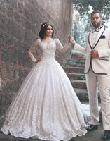 Wholesale Middle East Vintage Full Lace Wedding Dresses Long Sleeves Dubai Gorgeous Lace Bridal Gowns With Sweetheart Neck Zip Back Long Gowns