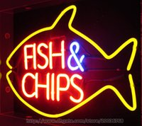 Wholesale Fish Chips Neon Sign Restaurant Sea Food Handcrafted Custom Indoor Real Glass Tube Advertisement Display Sign quot X13 quot