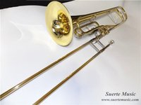 Wholesale Yellow Brass Contrabass Trombone F Pitch with case and Mouthpiece instrumento musical