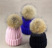 Wholesale Real Mink Fur Pom Poms Winter Hat For Women Girl s Genuine Fox Fur Pompom Knitted Beanie Thick Raccoon Fur Pompon Ball Wool Hat HJIA741
