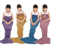 Wholesale Christmas gift Children Knitted Mermaid Tail Blanket Super Soft Warmer Blanket Bed Sleeping Costume Air condition Knit Blanket Colors