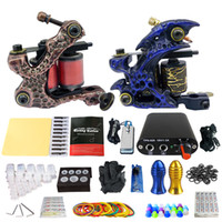 Wholesale SolongTattoo New Arrival Pro Machine Guns Tattoo Kit Power Supply Needle Grips tip set TK201