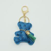 bear key holder - 2016 Luxury Teddy Bear Key Holder Good Quality Candy color Hot key chain bag pendant for Women Gifts Gifts Car Keyring K04415