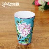 Wholesale 200ml colorful hand painted Chinese Ceramic Mug floral and birds pattern Drinking Mug without handle Coffee And Tea Tumblers