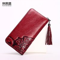 purses brand name - High quality Chinese style Genuine Leather Vintage female zipper purse name brand fashion pattern Clutch Wallet women