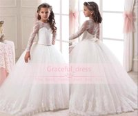 Wholesale New Princess Illusion Long Sleeves Flower Girls Dresses Lace Appliqued Bow Sash Ball Gown Kids Formal Wear Girls Pageant Gowns CPS291
