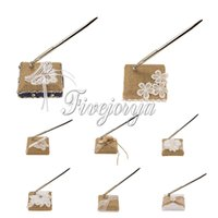 Wholesale 10 style New Natural Color Handmade Rustic Burlap Hessian Lace Wedding Pen Stand Set Rustic Country Vintage Decoraitons