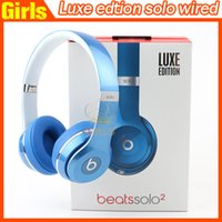 Wholesale Refurbished LUXE EDITION beatssolo2 wired Headphone Wired SOLO luxe blue red silver and black Headset Drop Shipping