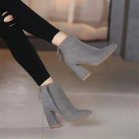 Wholesale Women High heeled short boots Autumn Winter Ladies Fashion Warm Chunky Heel Work Boots Snow Shoes Cow suede high heeled shoes