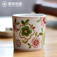 Wholesale New classical Pure hand painted ceramics candle holders For Wedding Decor Candle Cup Home Decor Glass Candle Holder For Gift
