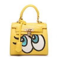 big eye leather - South Korea big eyes sequins new handbag portable shoulder Xiekua package