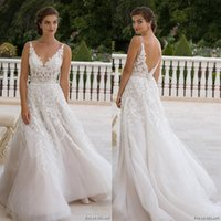 beautiful bridal boutique - Eve of Milady Boutique Spring Bridal V Neckline Lace Embroidered Bodice Beautiful A Line Wedding Dress Style1556
