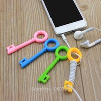 Wholesale 3pcs New Earphone Cable Winder Organizer Key Shape Line Coil Winder Headphone Wire Holder